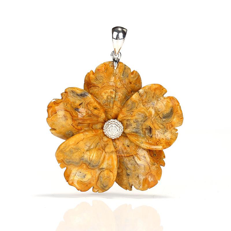 Natural Gemstone Crazy Lace Agate Handcarved Flower Pendant, 925 Sterling S