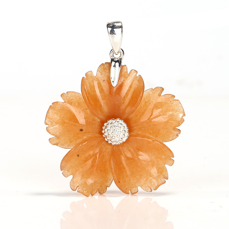 Natural Gemstone Red Aventurine Handcarved Flower Pendant, 925 Sterling Sil