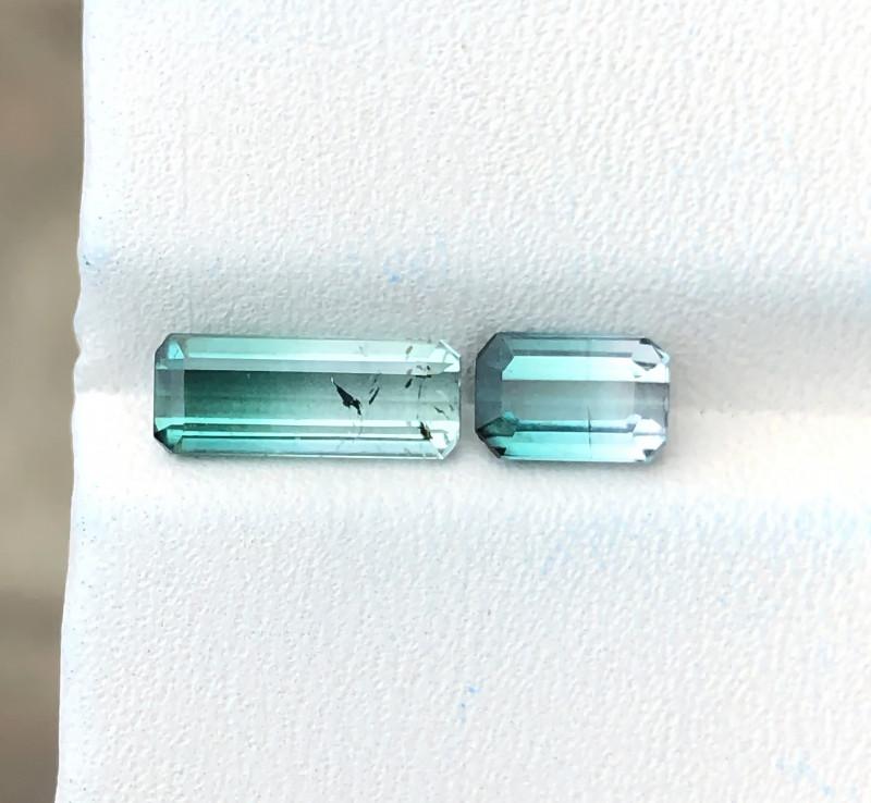 2.20 Ct Natural Bi Color Transparent Tourmaline Gemstones Pairs