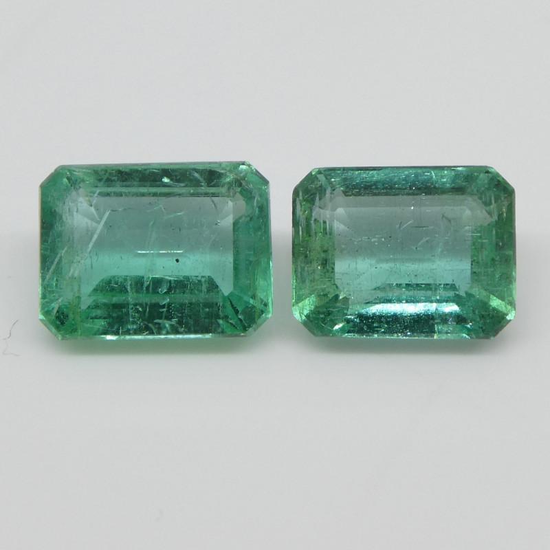 3.29ct Emerald Pair Emerald Cut