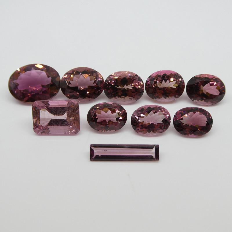 28.56ct Pink Tourmaline Oval/Emerald Cut/Baguette Wholesale Lot