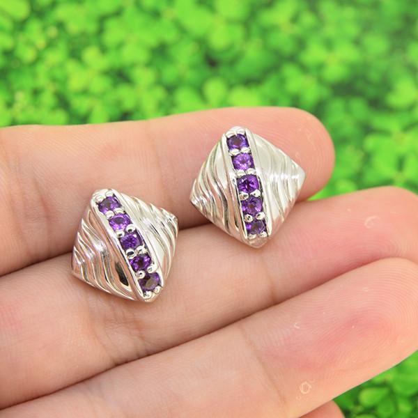 Natural Amethyst 925 Sterling Silver Earrings (SSE0501)