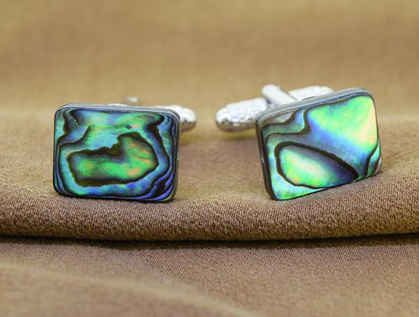 Genuine Abalone/ Paua Shell Rectangular Cuff Links