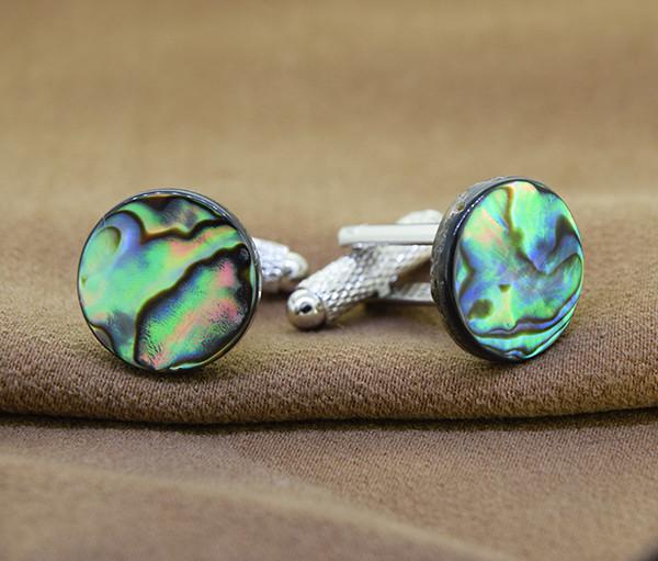 Genuine Abalone/ Paua Shell Cuff Links
