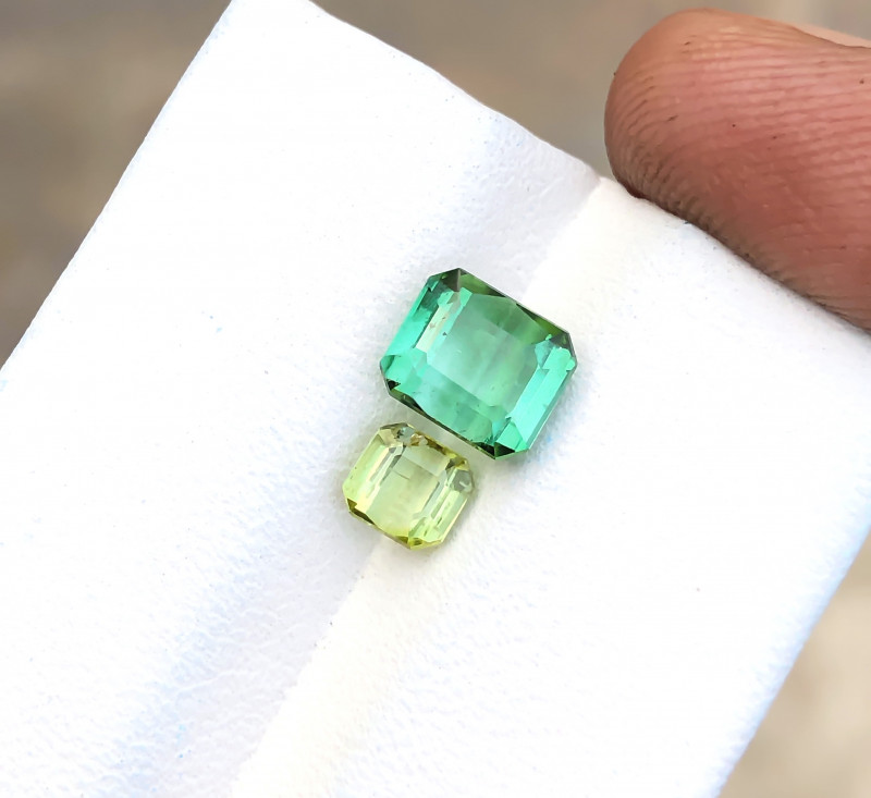2.40 Ct Natural Greenish & Yellow Transparent Tourmaline Gems Pairs