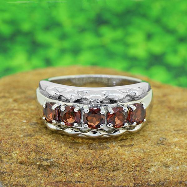 Natural Hessonite Garnet 925 Sterling Silver Ring SIZE  (SSR0063 )