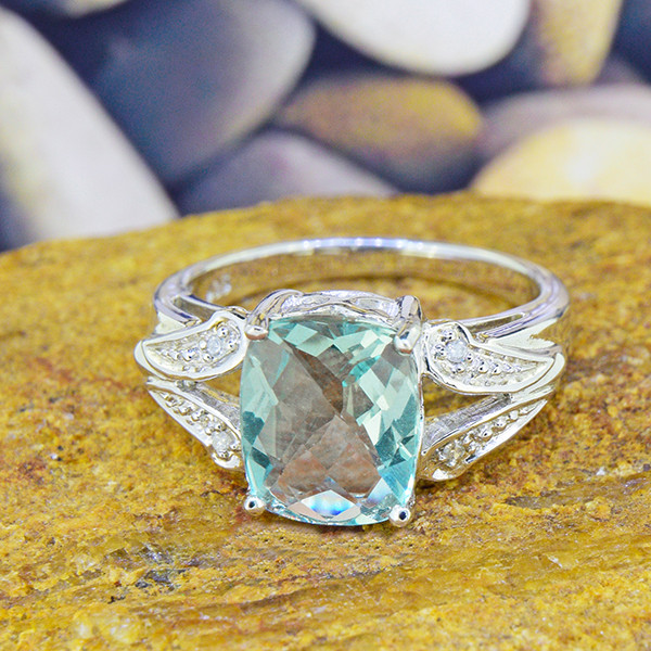 Natural Fluorite & Diamond 925 Sterling Silver Ring SSR0044