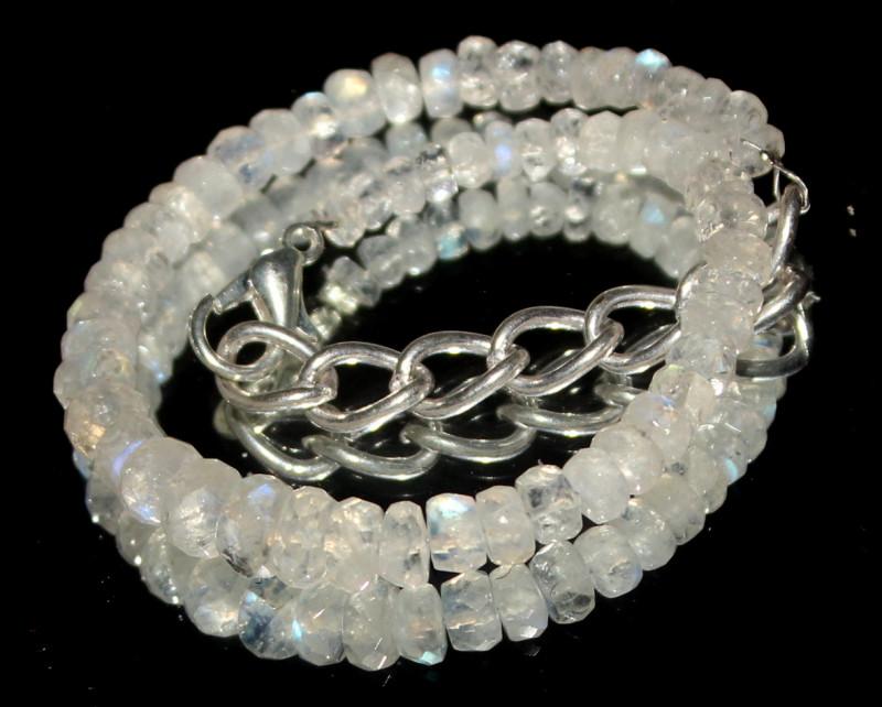 29 Crts Natural rainbow moonstone Beads Bracelet 741