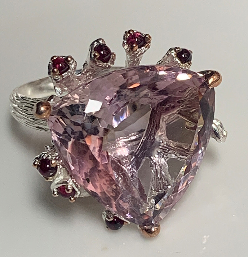 Amethyst Ametrine Rhodolite Gold and Silver Ring Size 8.5 Gorgeous