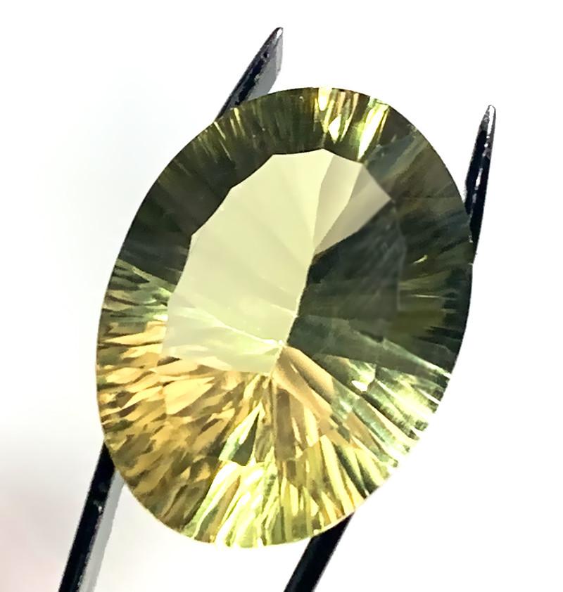 22.75ct Lemon Quartz Concave Cut gem beautiful stone - No reserve