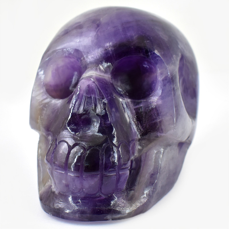 Genuine 1171.00 Cts Purple Amethyst Human Skull