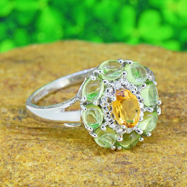 Natural Citrine & Peridot 925 Sterling Silver Ring SSR0539