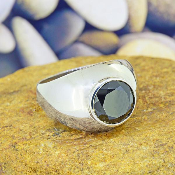 Natural Black Spinel GENTS' 925 Sterling Silver Ring Size 10 (SSR0188)