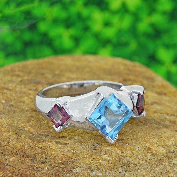 Natural Topaz & Garnet  925 Sterling Silver Ring  (SSR0548)