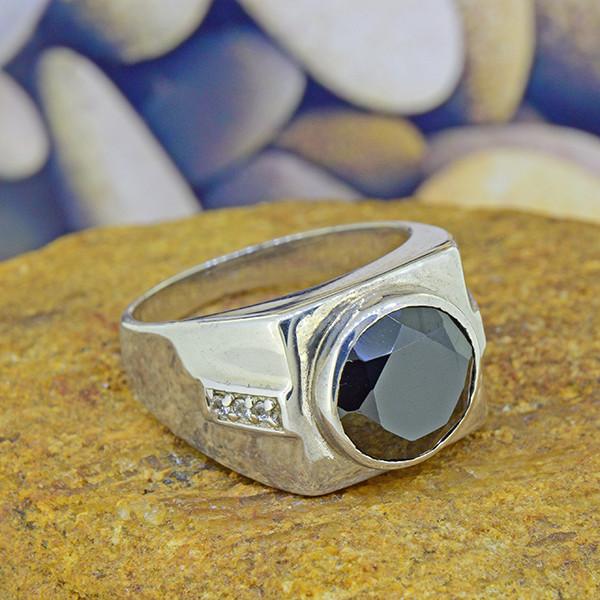 Natural Black Spinel & Topaz Gents' 925 Silver Ring Size 7.5