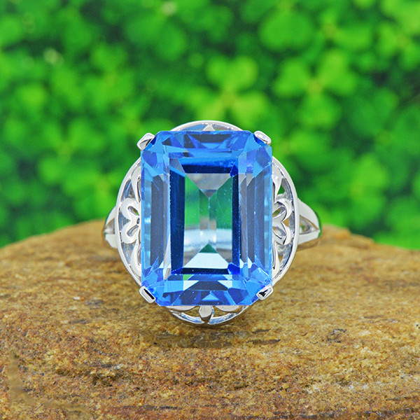 Natural Swiss Blue Topaz 925 Sterling Silver Ring (SSR0551)