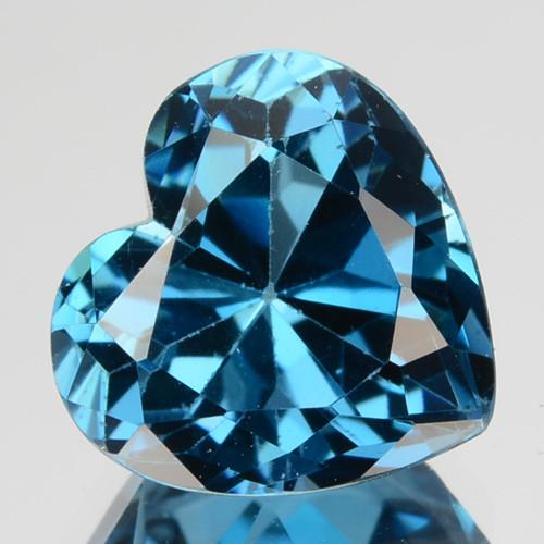 ~LOVELY~ 3.88 Cts Natural London Blue Topaz 10mm Heart Brazil
