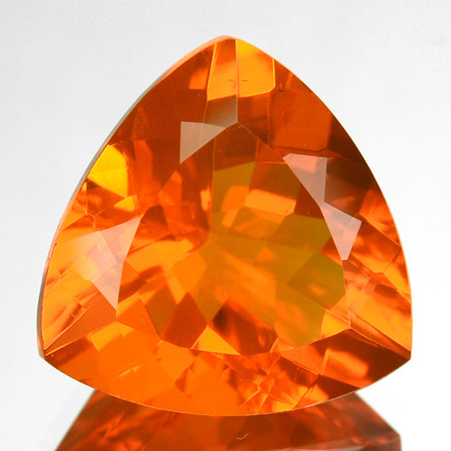 1.23 Cts Fiery Orange Natural Mexican Fire Opal 8.5mm Trillion Cut