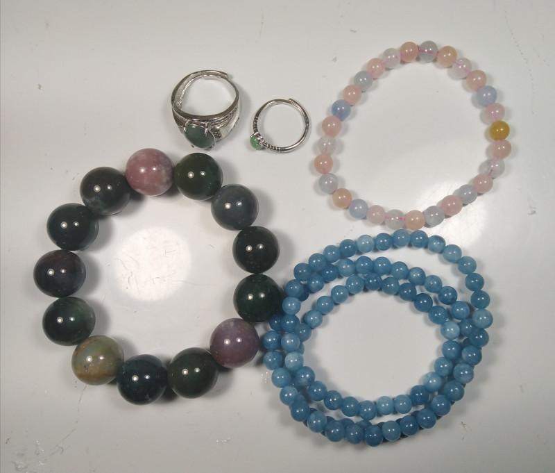 1 Set Natural Aquamarine , Agate,Pink Beryl,Jadeite Jade Jewelry