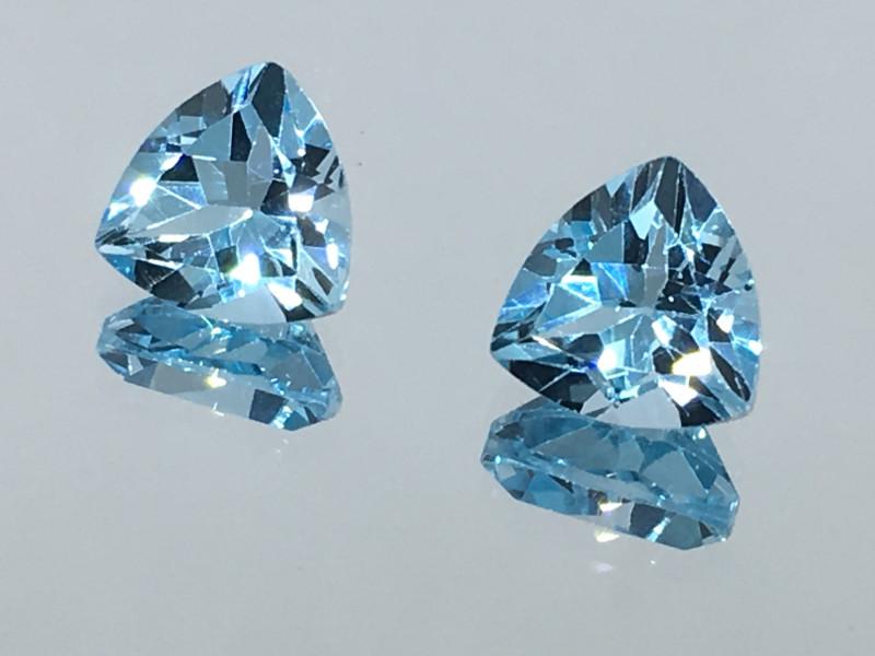 4.20 Carat VVS Topaz Swiss Blue Trillion Pair Amazing Quality!