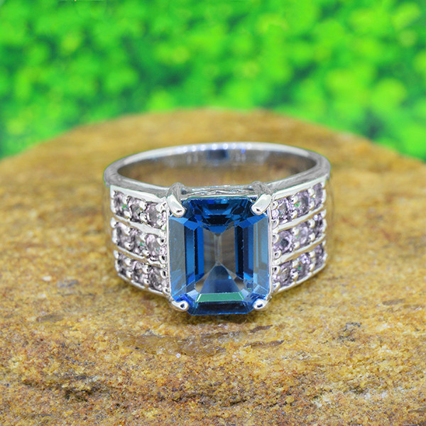 Topaz & Tanzanite Natural 925 Sterling Silver Ring SIZE 6  (SSR0554 )