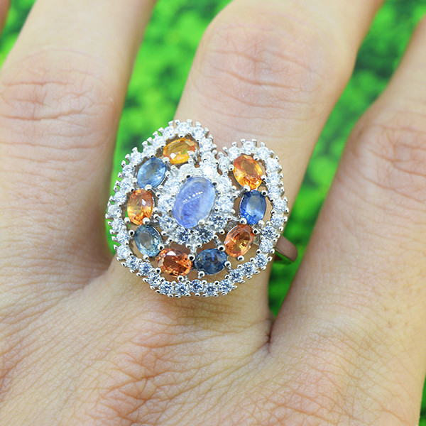 Natural Tanzanite & Sapphire 925 Sterling Silver Ring SIZE 8  (SSR0545)