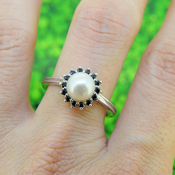 Pearl & Spinel Natural 925 Sterling Silver Ring SIZE 8 (SSR0560)