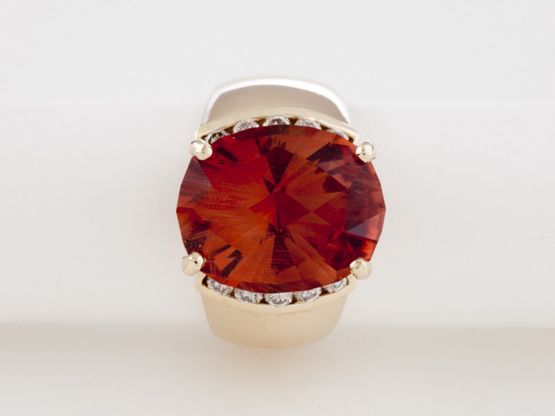 8.3ct Certified Orange Sunstone Gold Ring with Diamonds (S158R)