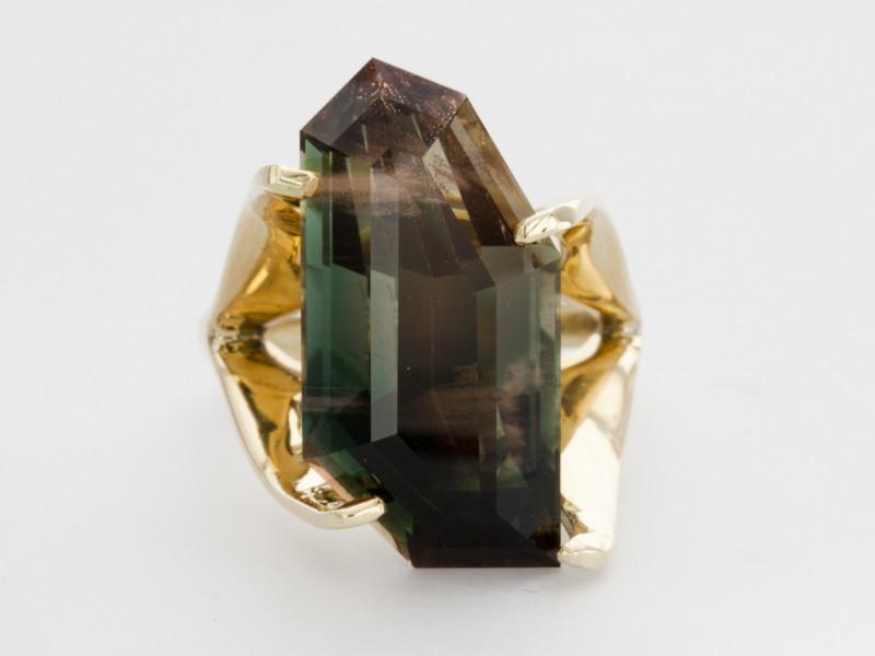 14ct Dichroic Freeform Sunstone Yellow Gold Ring (S332R)