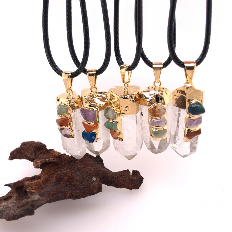 Parcel 5 x Chakra Crystal Terminated Point Pendant BR 862