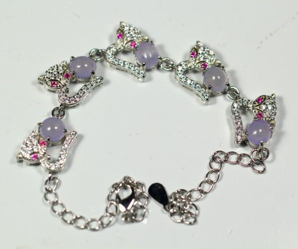 Natural Violet Jadeite Jade 925 Silver Bracelet