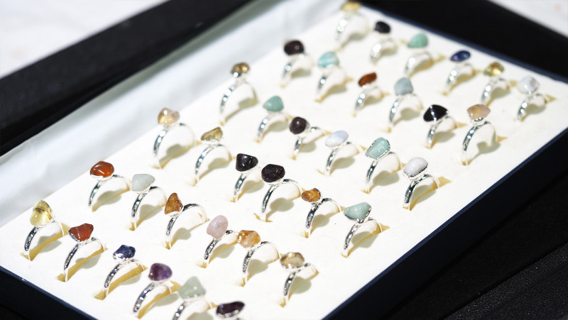 x36 set Tumbled Raw Gemstone Silver Plated Rings BR 871