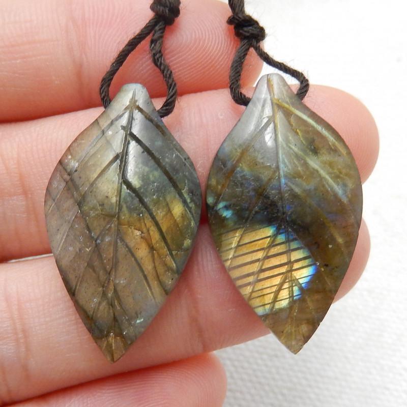 30ct Beautiful labradorite carved leave earrings semi-precious stones E164