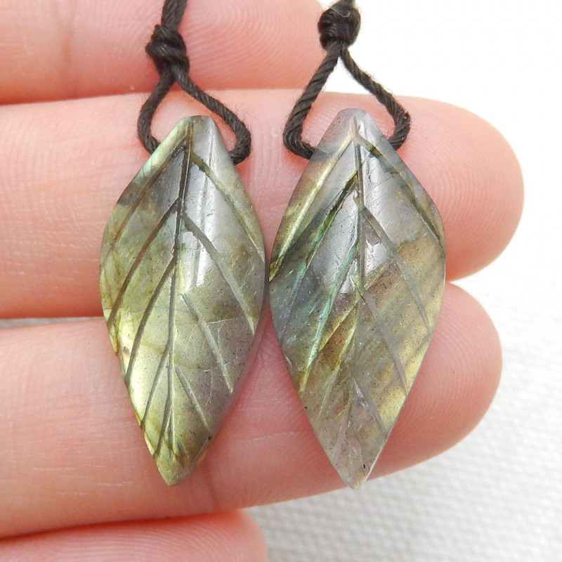 16ct Beautiful labradorite carved leave earrings semi-precious stones E167