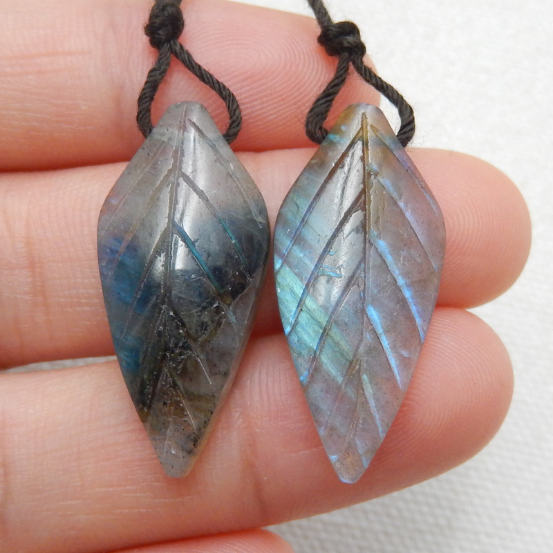 21ct Beautiful labradorite carved leave earrings semi-precious stones E172