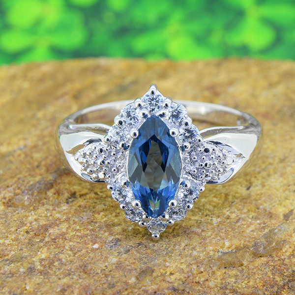 Natural Blue Topaz 925 Sterling Silver Ring Size 7 (SSR0575)