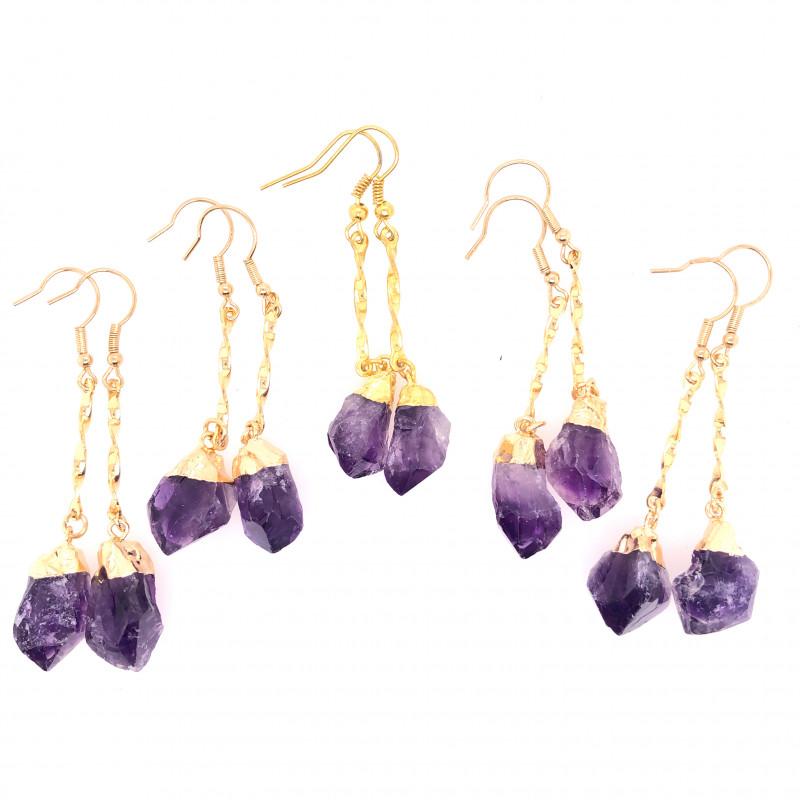 5 x Terminated Point Amethyst Gemstone Drop Earrings - BR 934