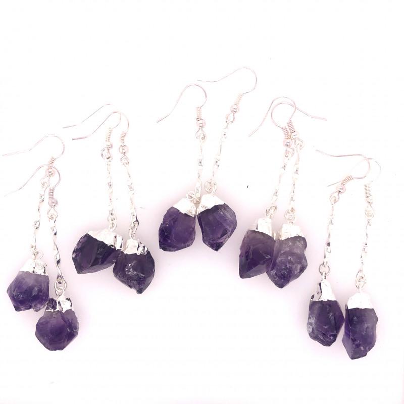 5 x Terminated Point Amethyst Gemstone Drop Earrings - BR 935