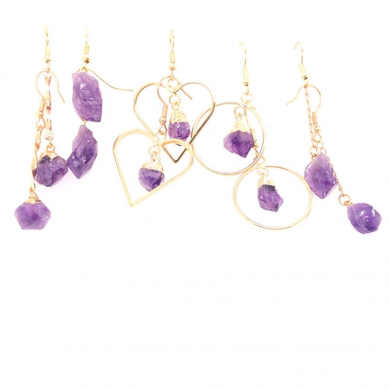 5 x Raw Beautiful Amethyst Earrings BR 2251