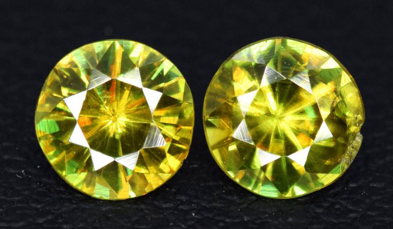 1.35 Carats Round Full Fire Sphene Titanite Gemstone From Pakistan