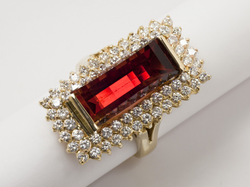 8.84ct Rare Red Sunstone Ring with Diamonds (S351R)