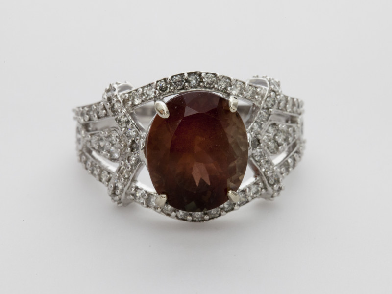 4.2ct Red Sunstone, White Gold Ring with Diamonds (S933R)