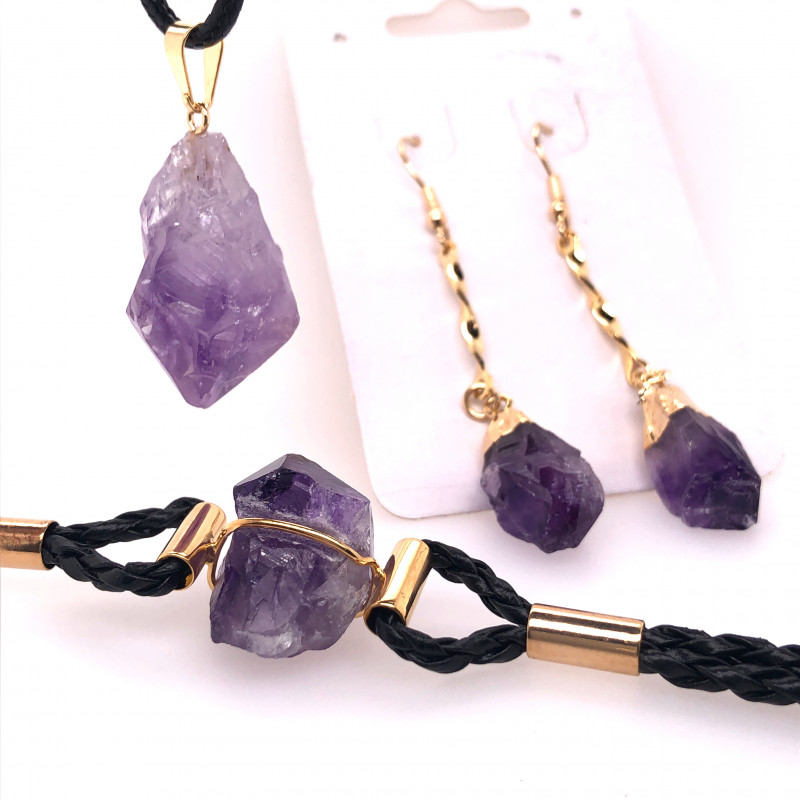 Amethyst Lovers Three Piece Jewelry Set - BR 1006