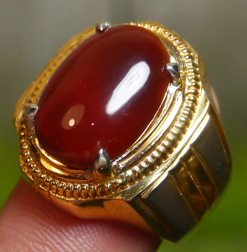 71.35 CT UNTREATED RED CLEAR INDONESIAN FIRE OPAL WITH RING