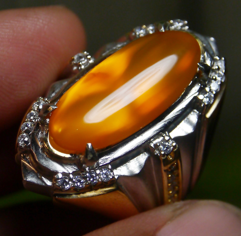 66.95 CT UNTREATED YELLOW CLEAR INDONESIAN FIRE OPAL WITH RING