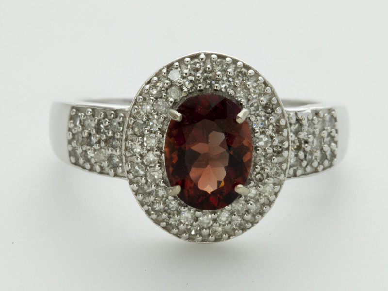 1.1ct Red Sunstone, White Gold Ring with Diamonds (S1674R)