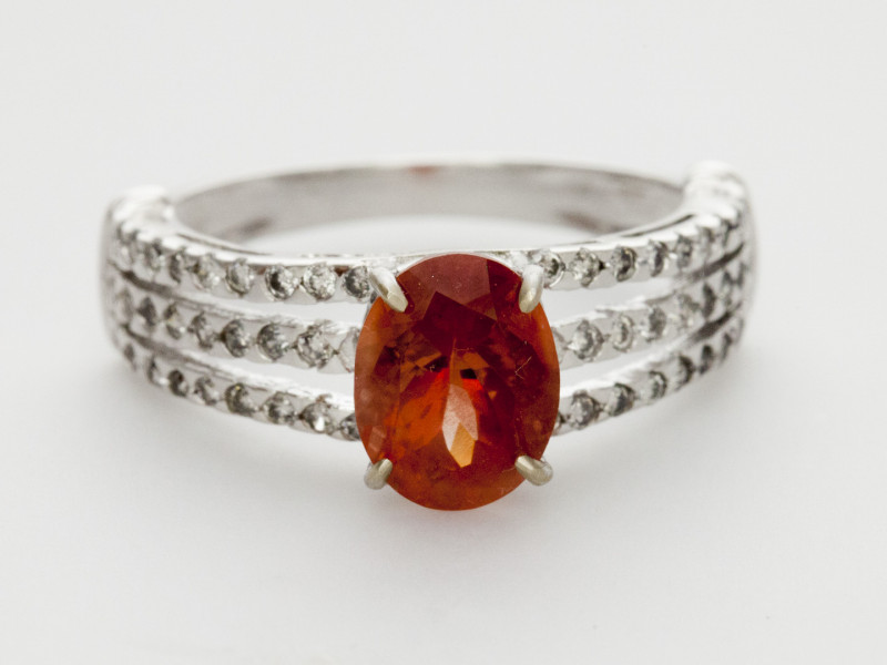 1.3ct Red Sunstone, White Gold Ring with Diamonds (S1804R)