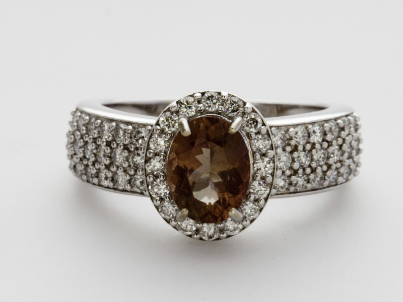 1.3ct Rootbeer Sunstone, White Gold Ring with Diamonds (S1830R)