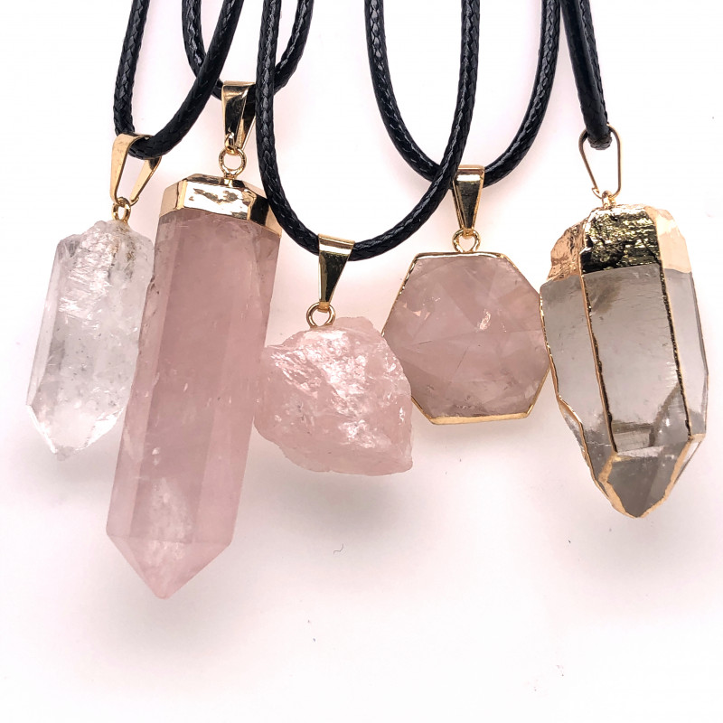 Parcel 5 x Crystal Terminated Point Pendants - BR 1025