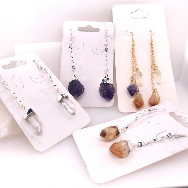 4 x Earrings Designs Raw : Amethyst, Citrine, Crystal - BR 1030